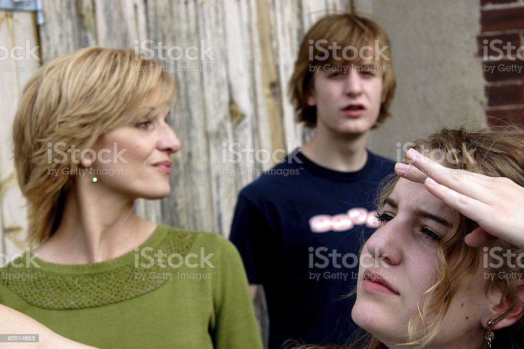 middle aged woman teens portrait stock photo