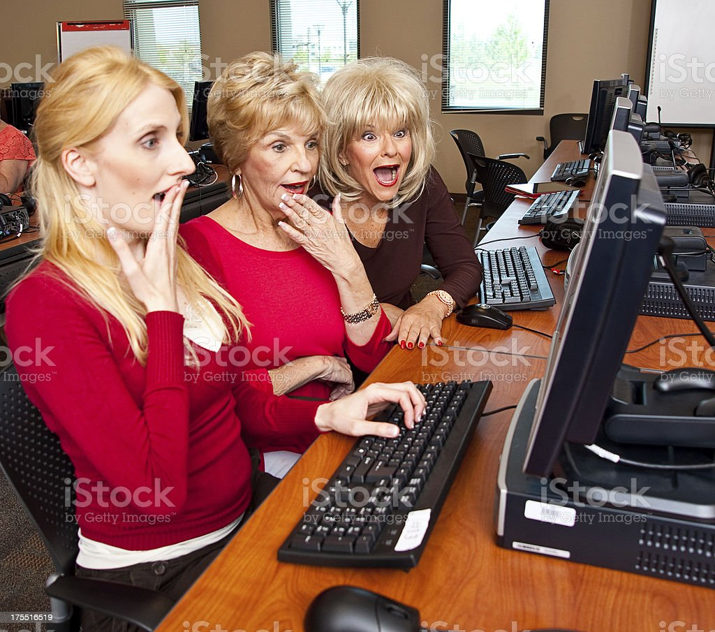 Middle Aged Women in a Computer Lab royalty-free stock photo