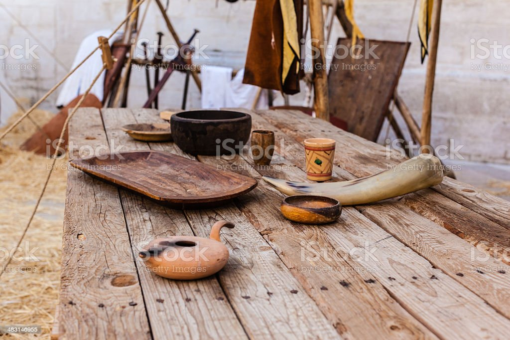 Middle ages table stock photo