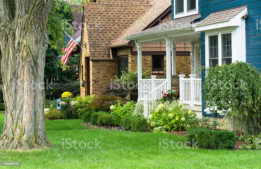 Middle Class American House in Rochester, Michigan stock photo