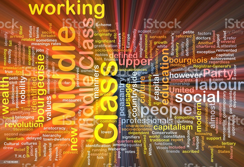 Middle class  background wordcloud concept illustration glowing vector art illustration