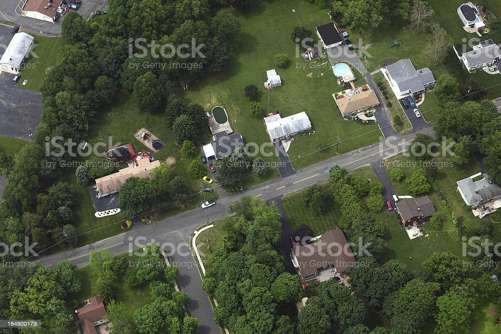 Middle Class Neighborhood Aerial stock photo