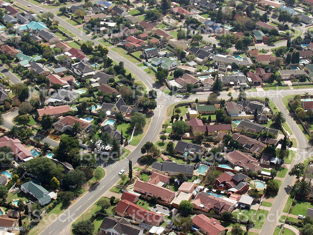 Middle class suburb from the air stock photo