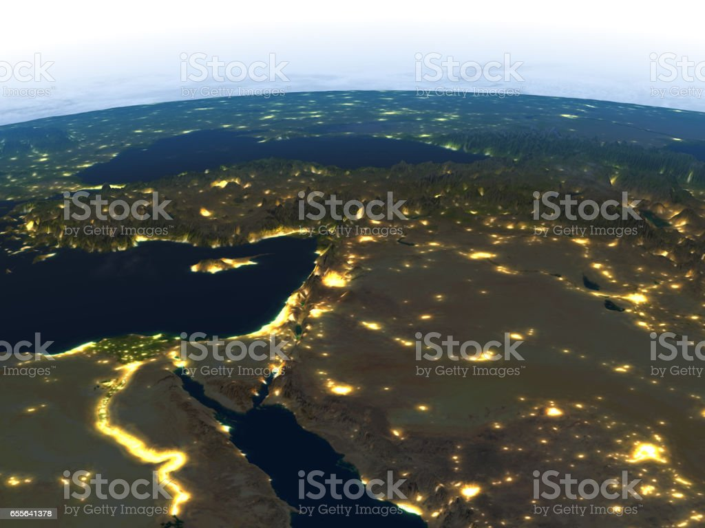 Middle East at night on planet Earth stock photo