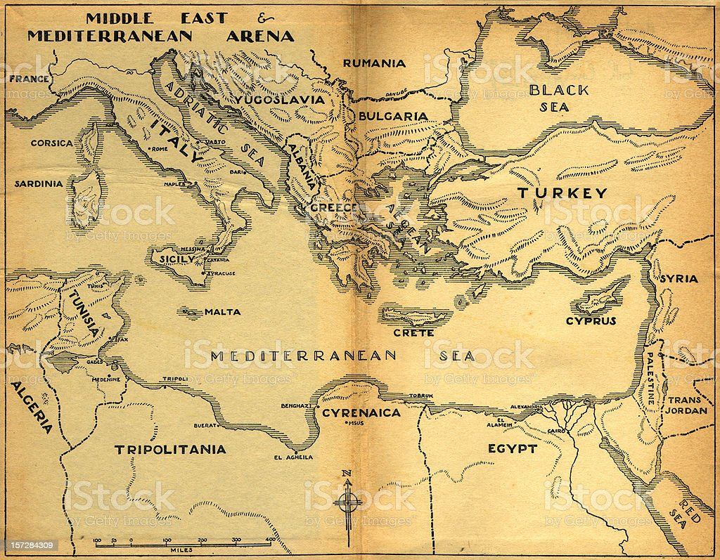 middle east & mediterranean old map stock photo