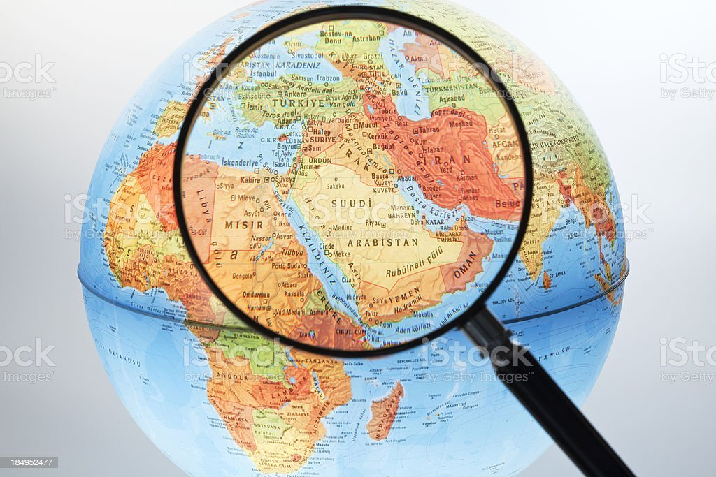 Middle East on Globe royalty-free stock photo