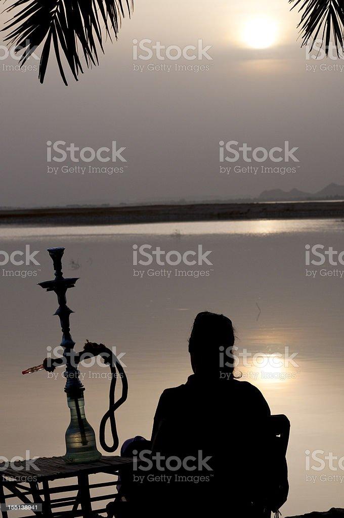 Middle East sunset with shisha stock photo