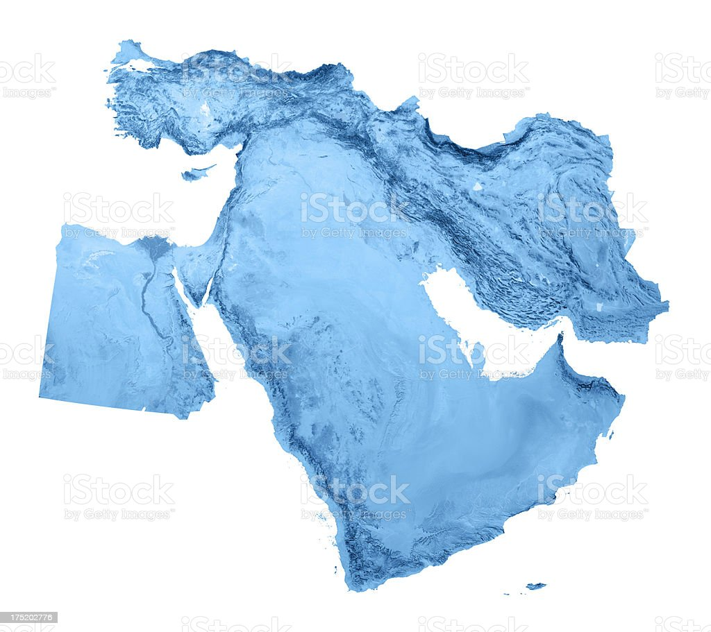 Middle East Topographic Map Isolated stock photo