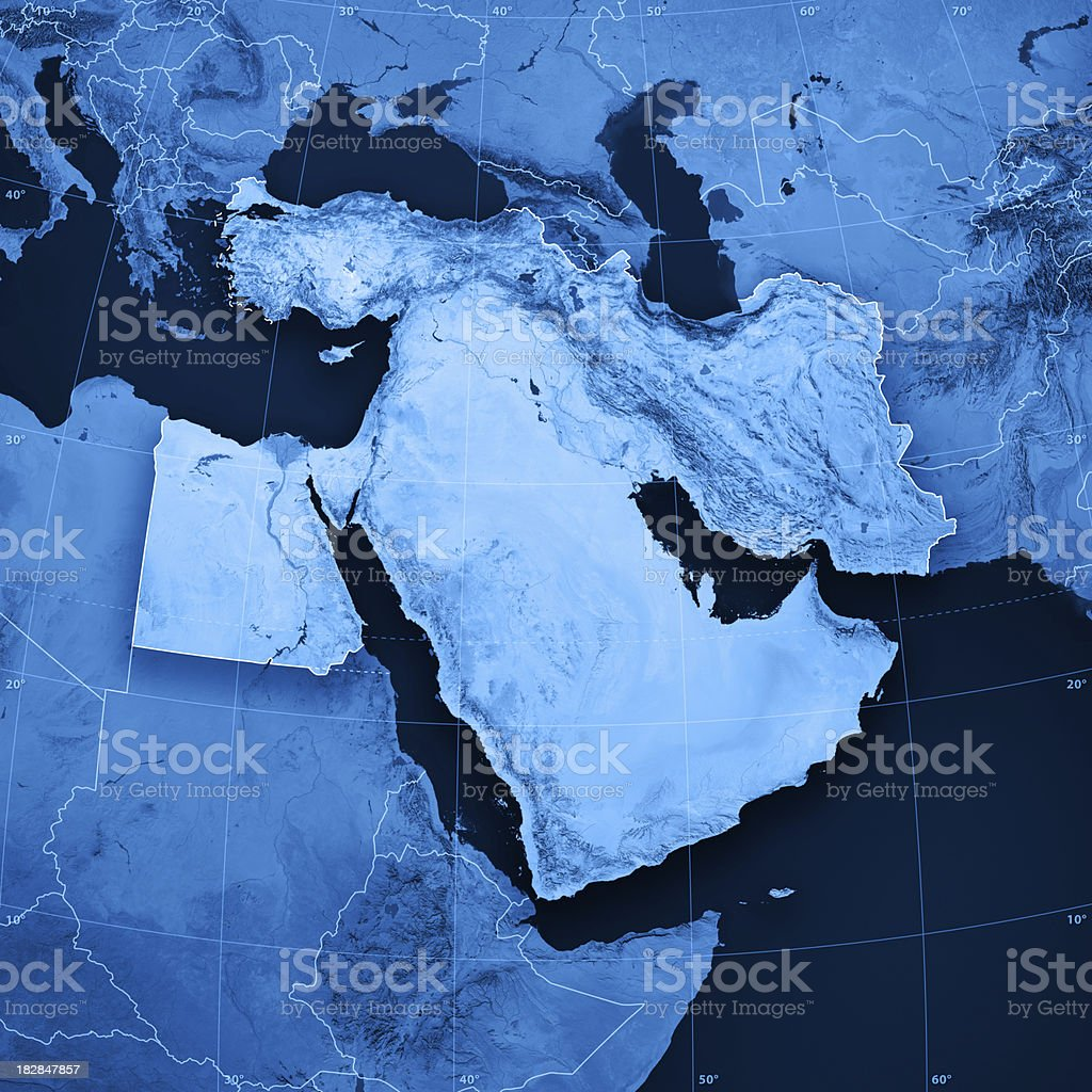 Middle East Topographic Map royalty-free stock photo