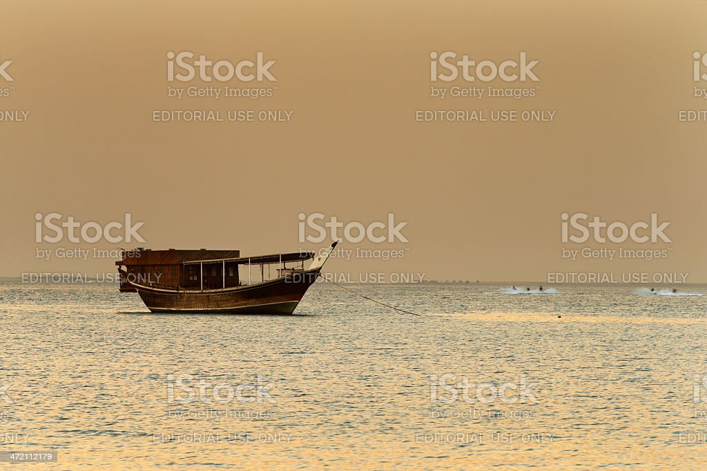 Middle East: Traditional sail boat is called the Dhow stock photo