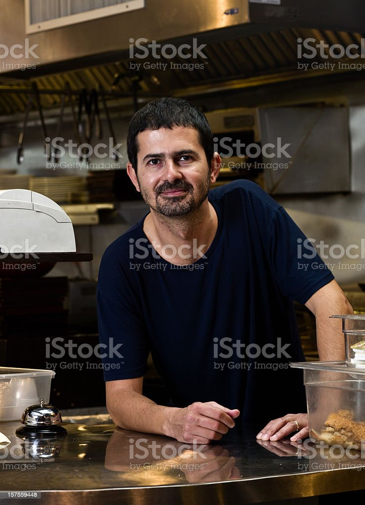 Middle easter coffee shop owner stock photo