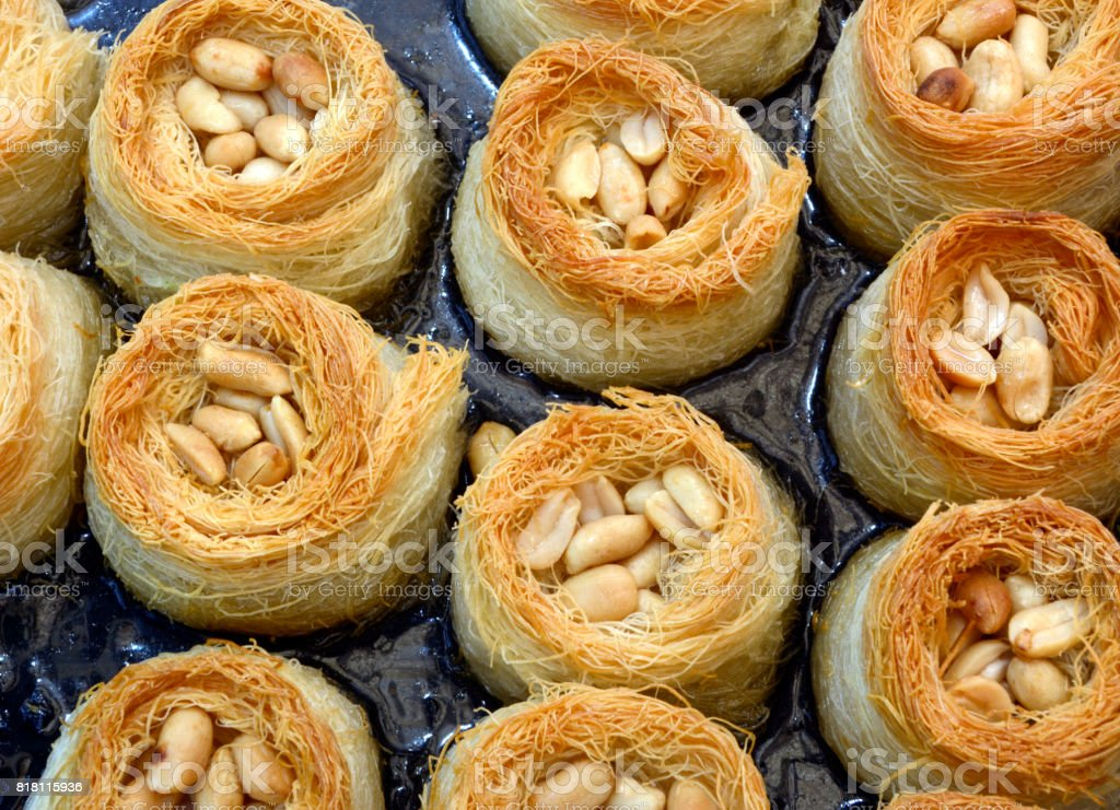 Middle Eastern Baklava Pastries - Nests with Peanuts and a Honey Glaze stock photo