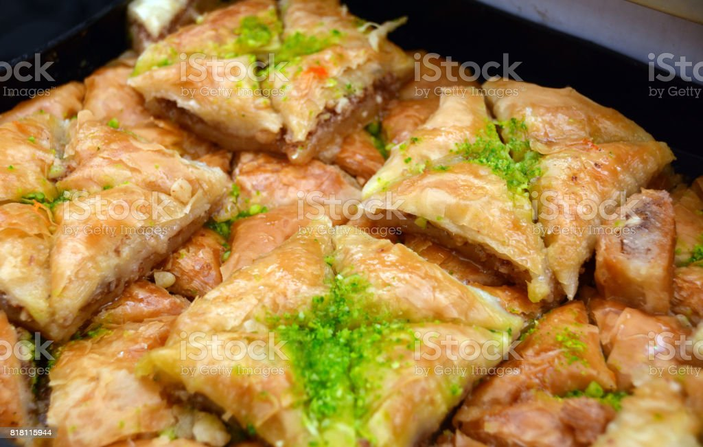 Middle Eastern Baklava Pastries: Pistachio and Filo Triangles stock photo