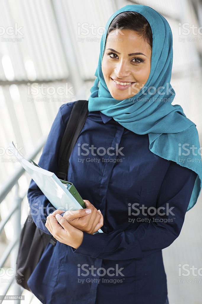 middle eastern college girl stock photo