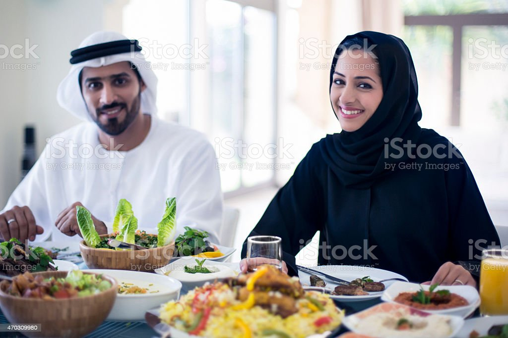 Middle Eastern couple having lunch stock photo