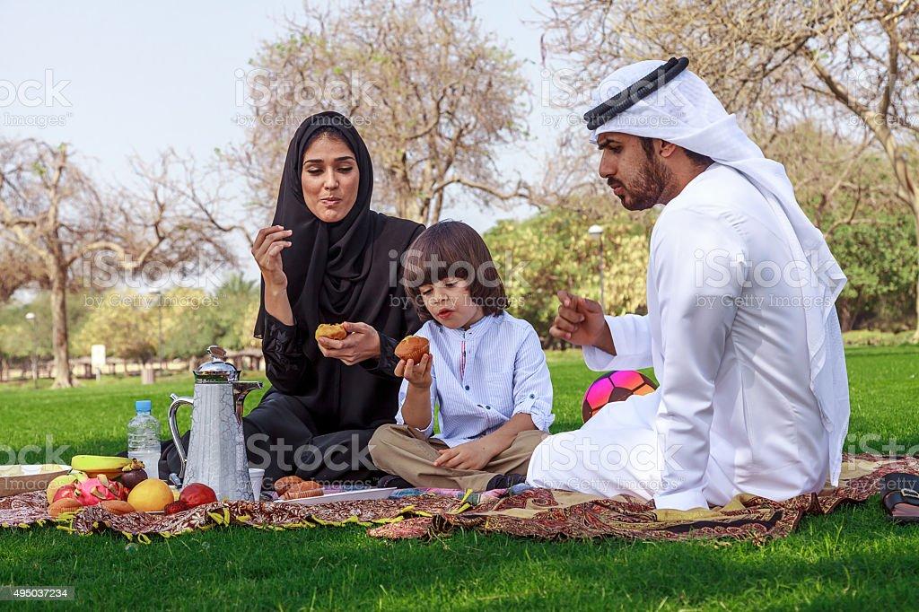 Middle Eastern family enjoying picnic outdoors stock photo