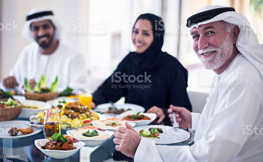 Middle Eastern family having lunch stock photo