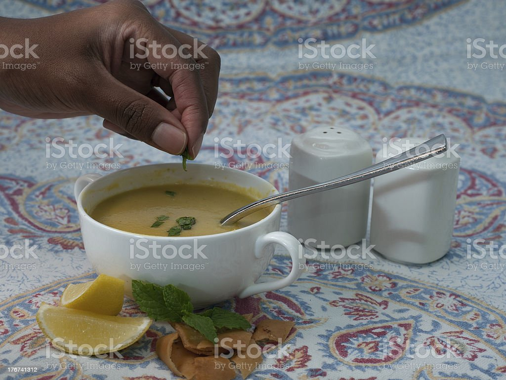 Middle Eastern lentil soup royalty-free stock photo