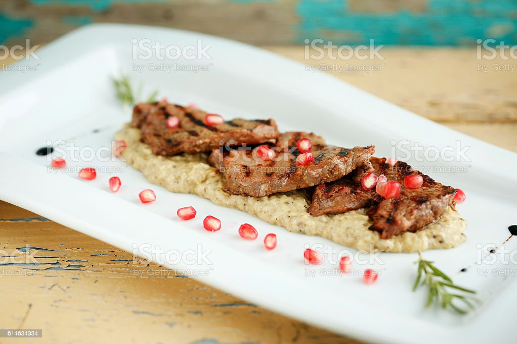 Middle Eastern Meal of Steak stock photo