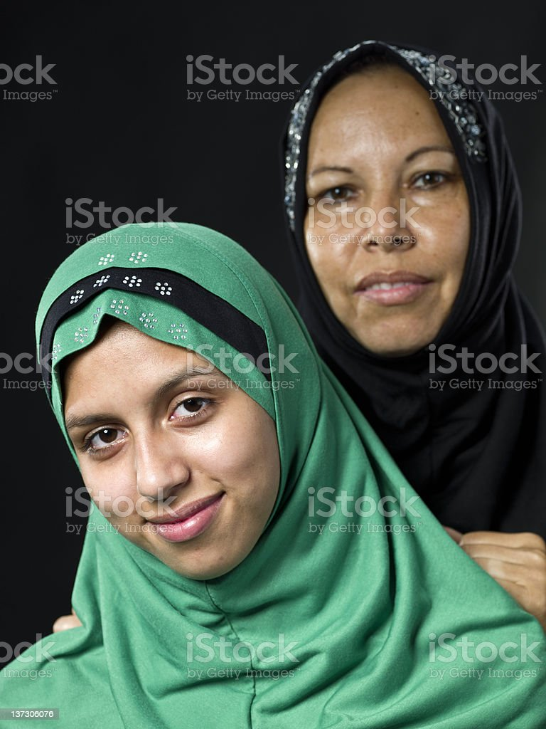 Middle eastern mother and daughter stock photo
