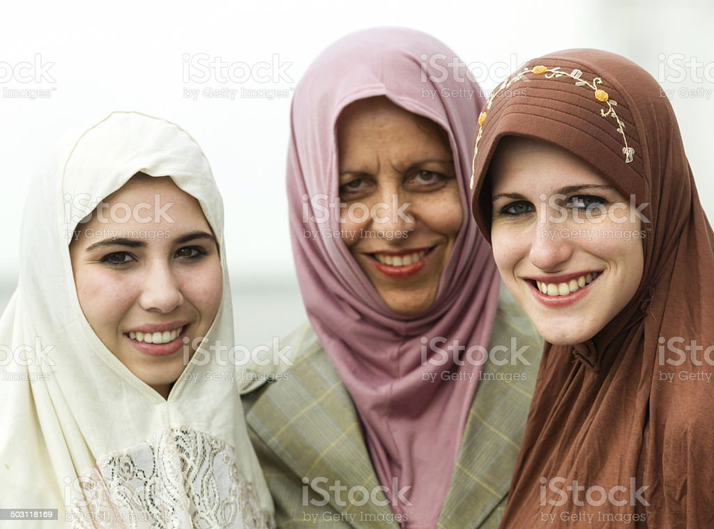 Middle eastern mother and daughters stock photo