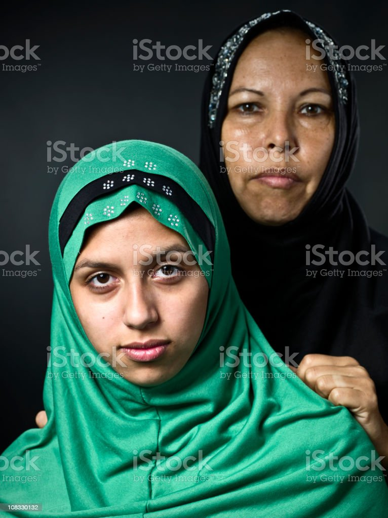 Middle eastern mother and her daughter stock photo
