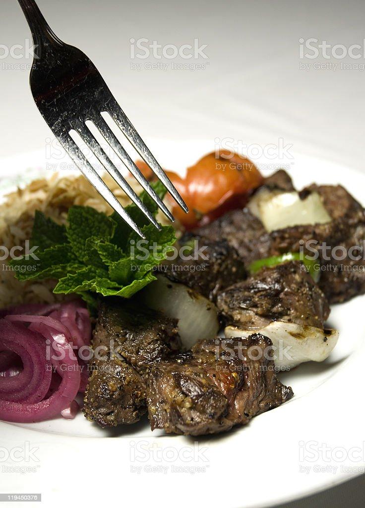 Middle Eastern Shishkabob Meal stock photo