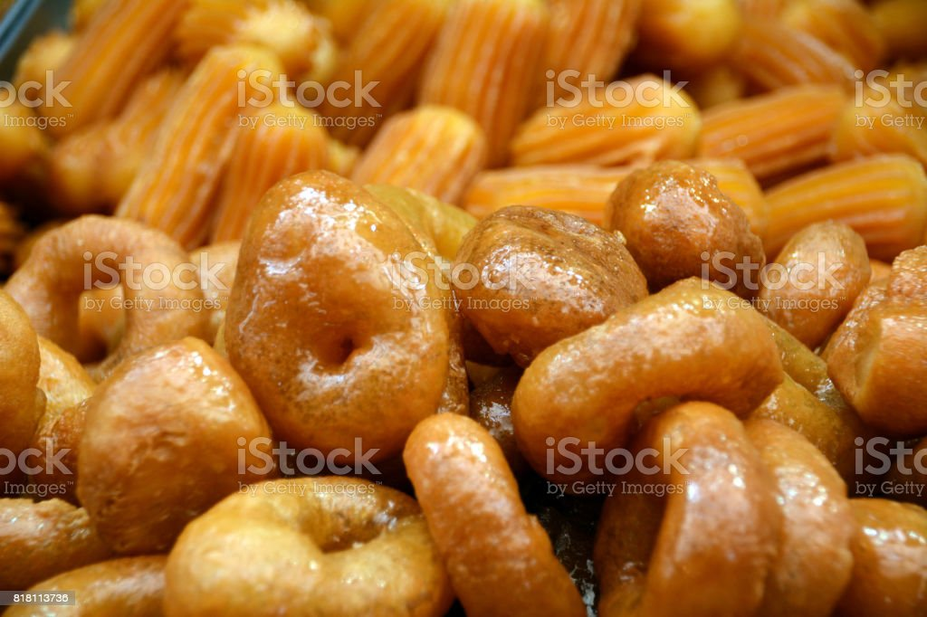 Middle Eastern Street Foods: Baklava Deep-Fried Pastries with Syrup stock photo