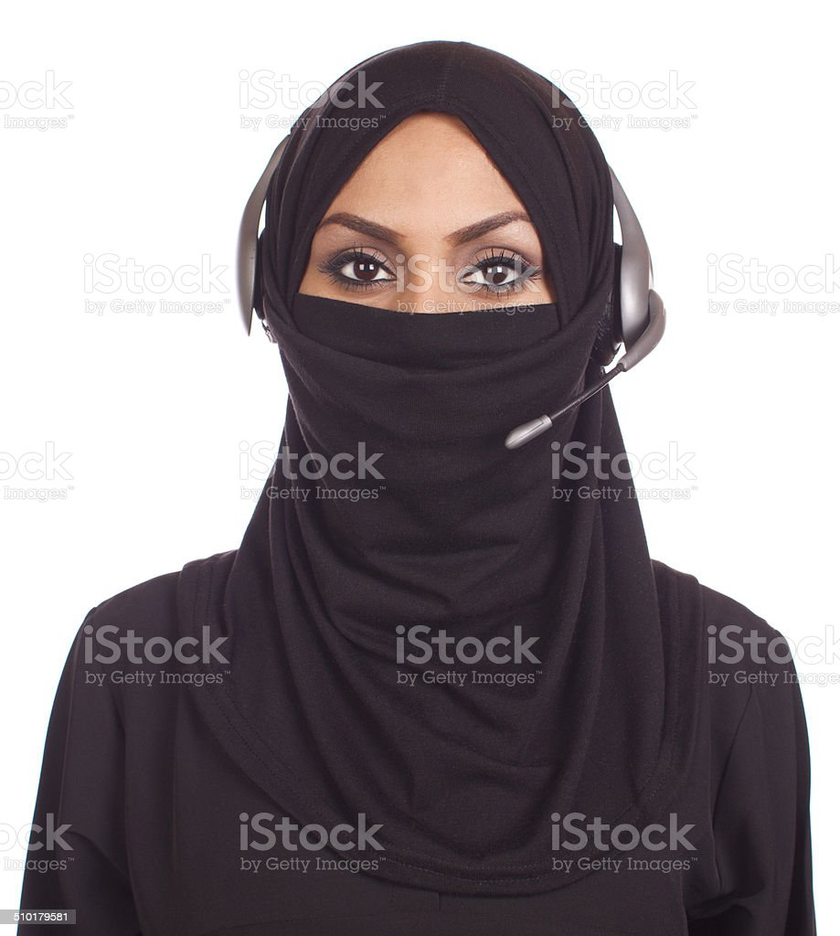 Middle Eastern Woman Customer Service Agent stock photo