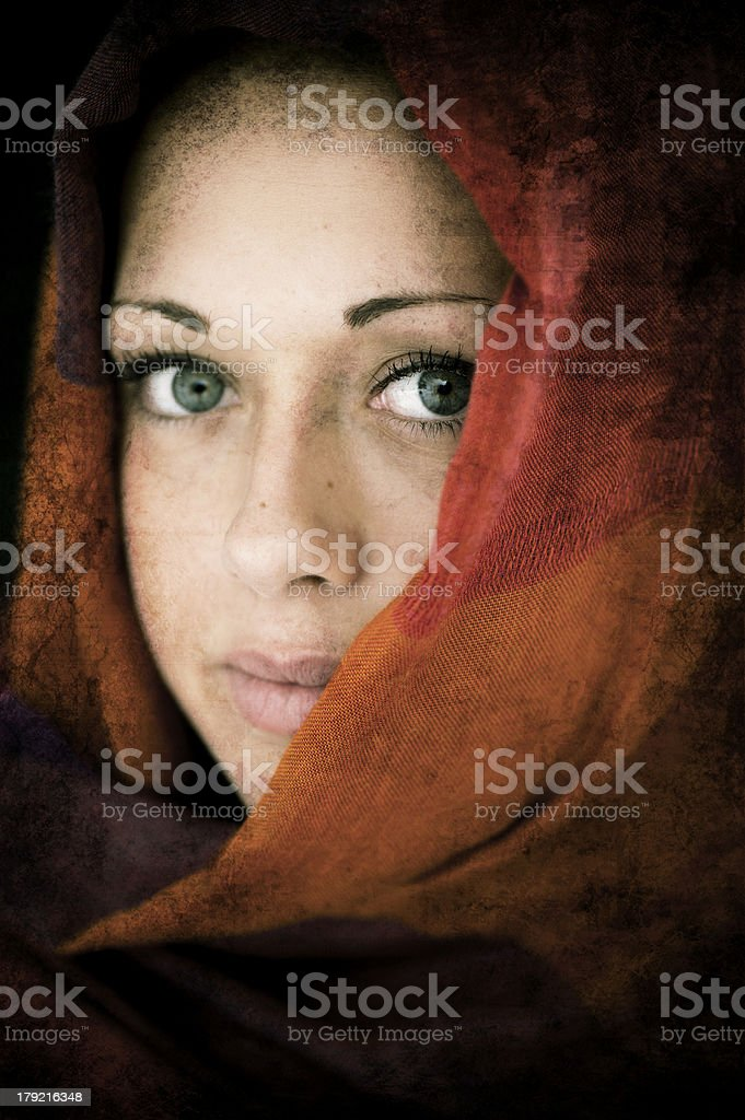 Middle eastern woman in wearing hijab scarf stock photo