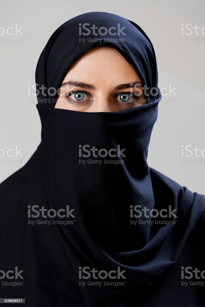 Middle Eastern woman wearing the veil stock photo