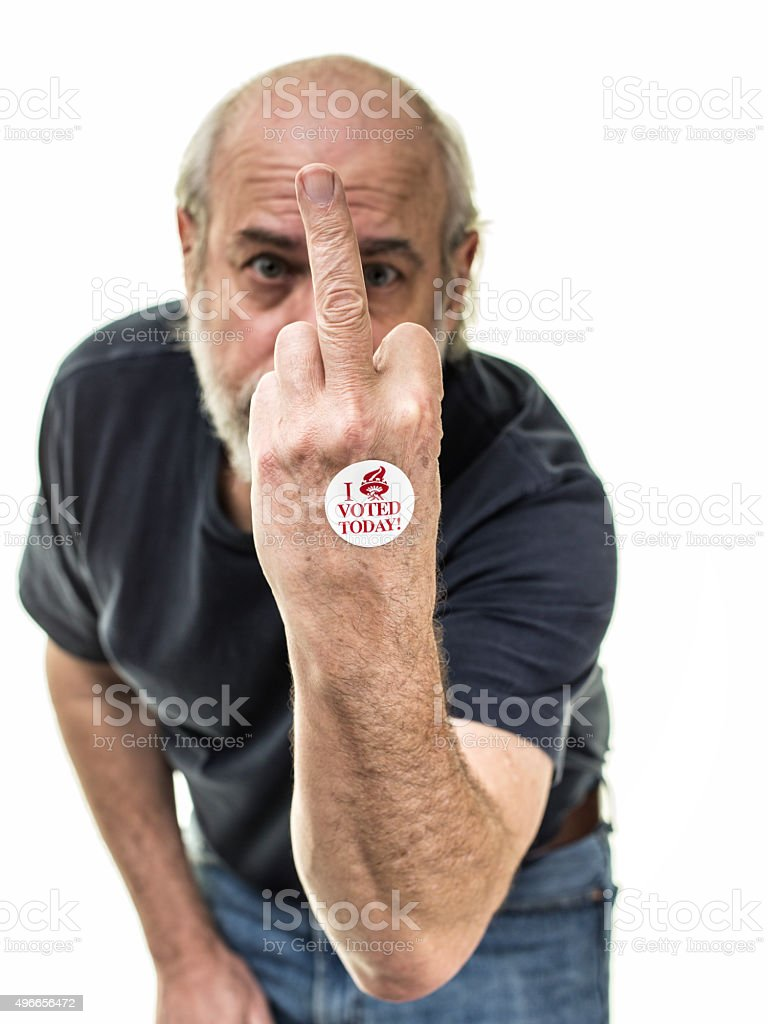 Middle Finger Flipping The Bird 'I Voted Today' Voting Sticker stock photo