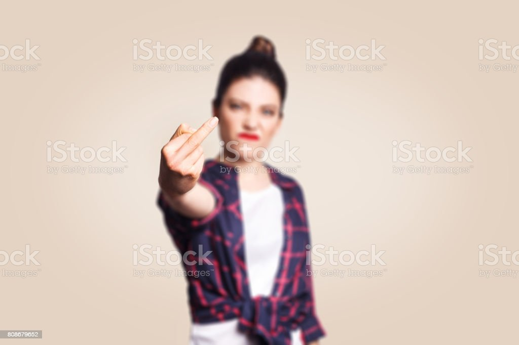 Middle finger sign. stock photo