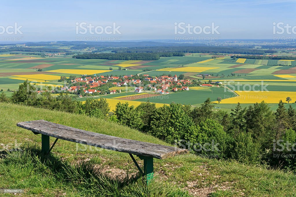 Middle Franconia: View from a hill down onto rural landscape stock photo