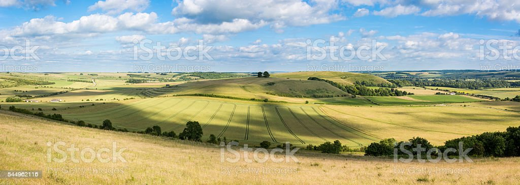 Middle Hill and Scratchbury Hill panorama stock photo
