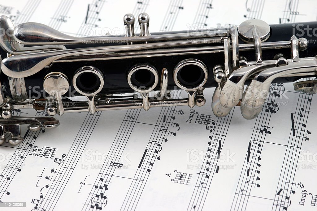 Middle of a clarinet with keys stock photo