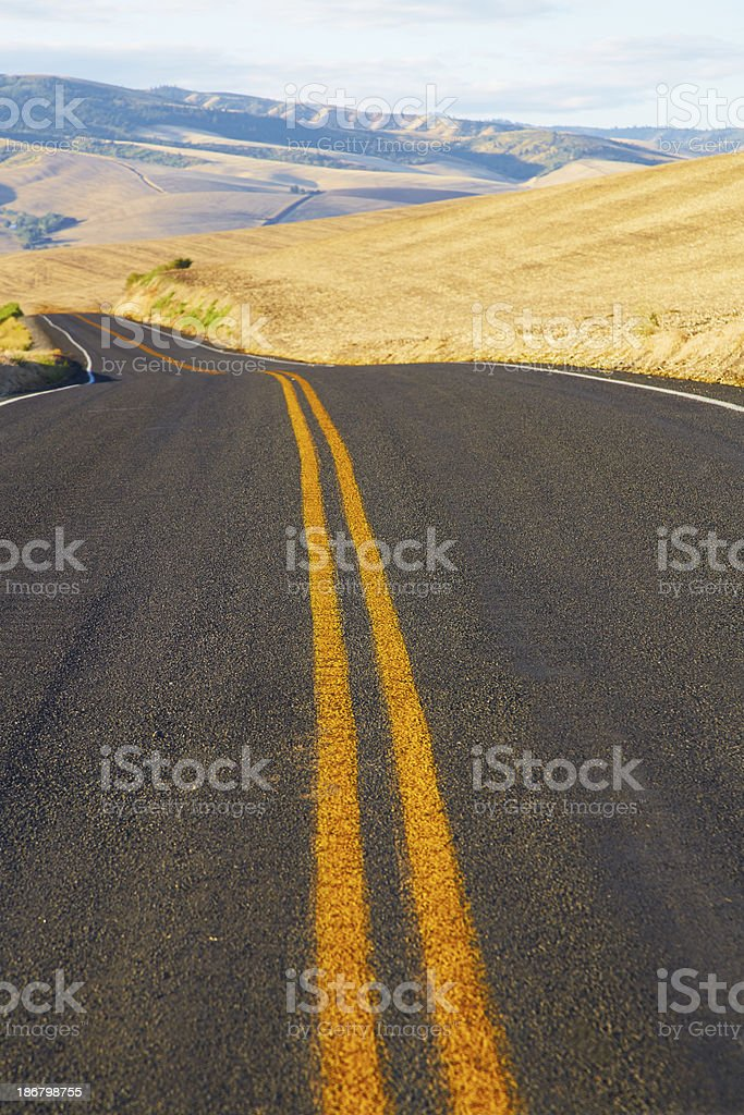 Middle of Curving Road Through Rolling Hills, Harvested Wheat royalty-free stock photo