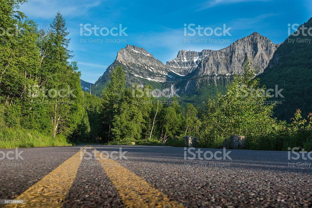 Middle of Going To The Sun Road with Reynolds Mountain stock photo