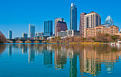 Middle of Town lake Austin Syline mirror reflections blue sky