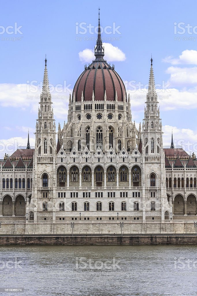Middle part of Hungarian Parliament stock photo