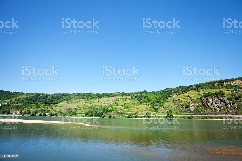 Middle Rhine upstream in summer stock photo