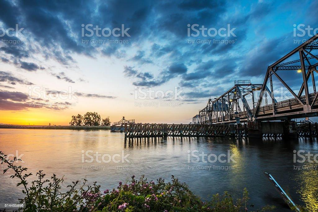 Middle River Bridge In The California Delta stock photo