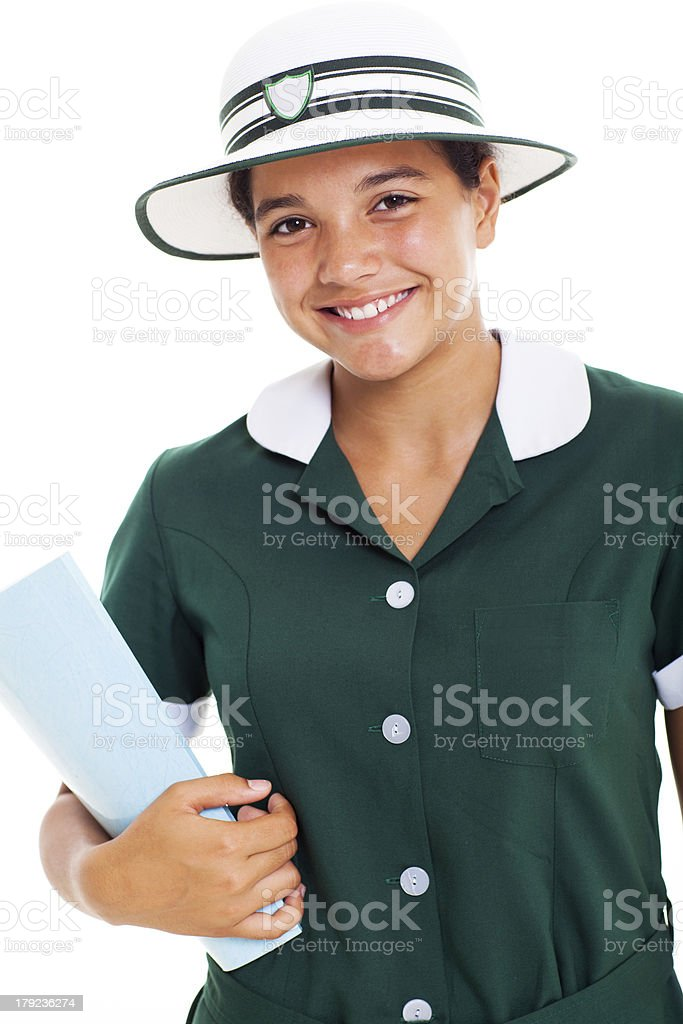middle school student holding a book royalty-free stock photo