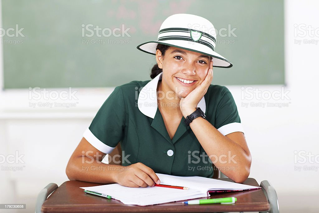 middle school student sitting in classroom royalty-free stock photo