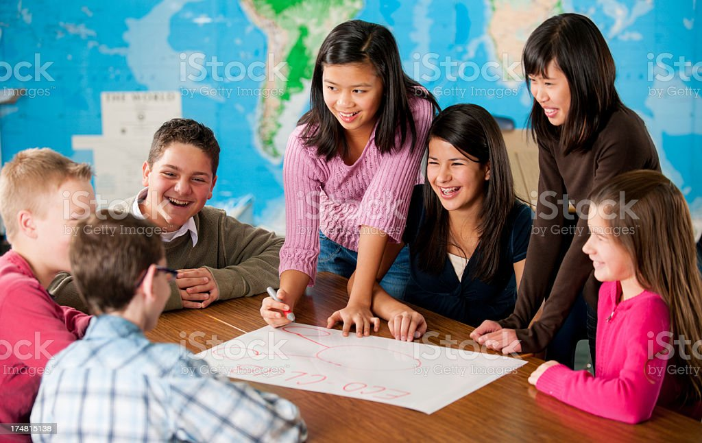 Middle School Students royalty-free stock photo