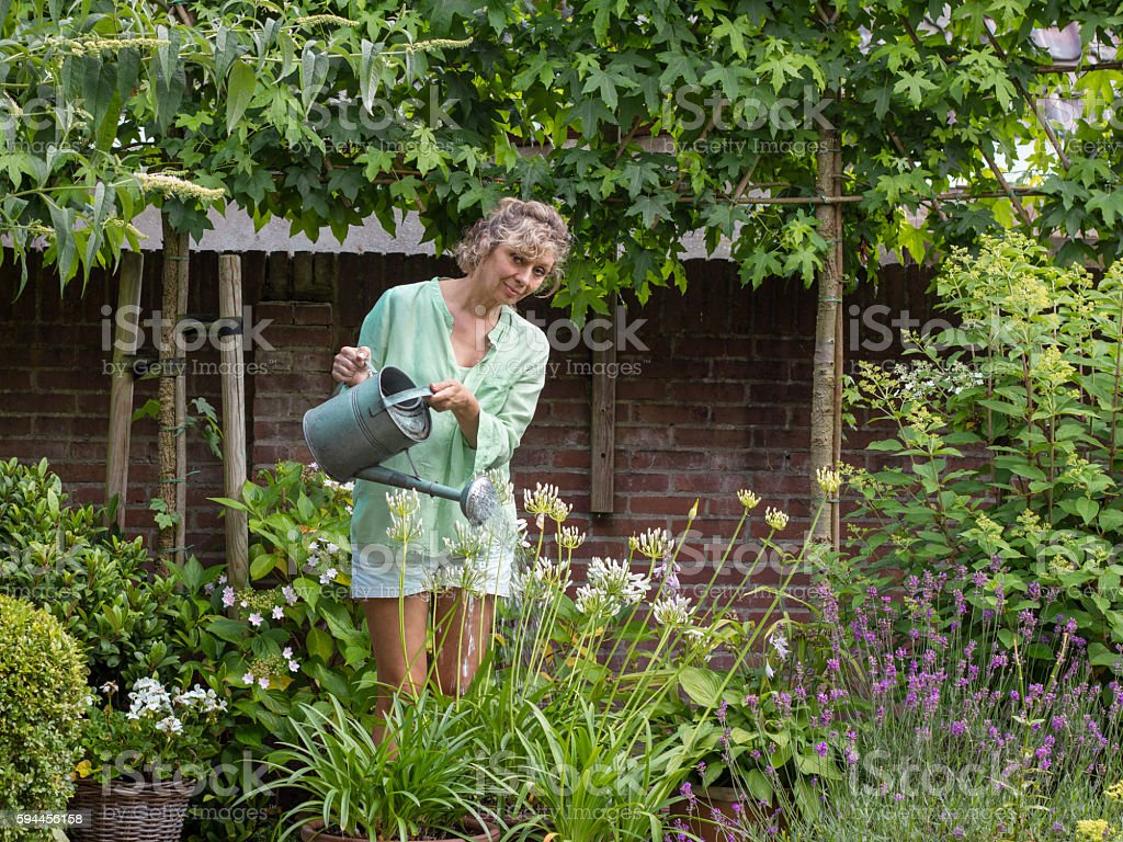 Middle-aged blond woman watering the flowers in his garden stock photo