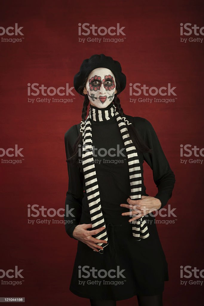 Middle-aged lady with freakish makeup stock photo