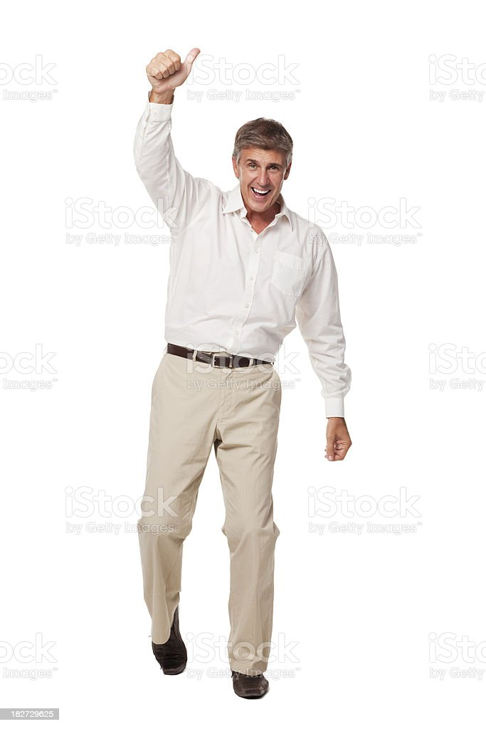 Middle-Aged Man Cheers. Isolated royalty-free stock photo