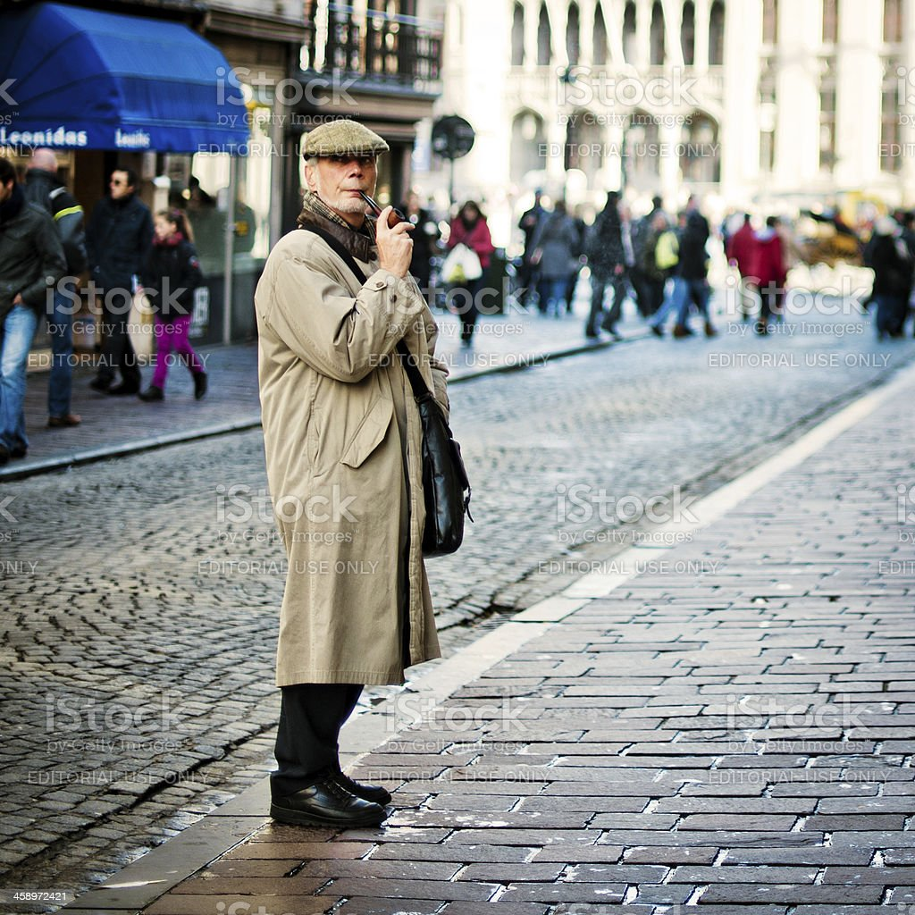 Middle-aged man in Bruges, Belgium royalty-free stock photo
