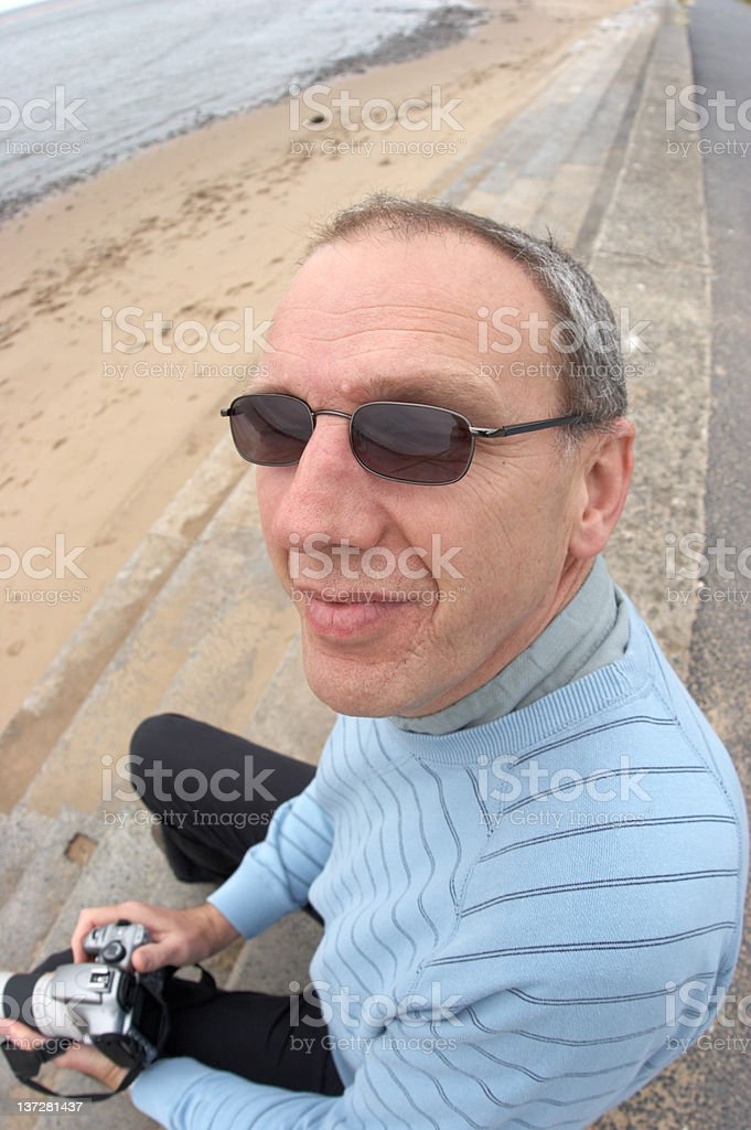 Middle-aged man (expressions) turning royalty-free stock photo